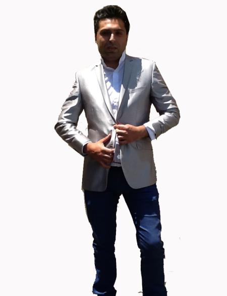 Product# G66V Stage Party Bright Sport Coat / Dinner Jacket Blazer Online Sale Vented Silver