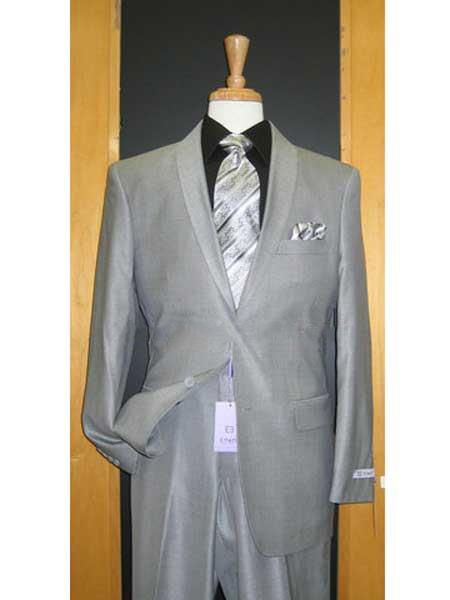 Product# SM149 Silver Grey Tux ~ Liquid Jet Black Lapel Gray Tuxedo Wedding Groom Suit