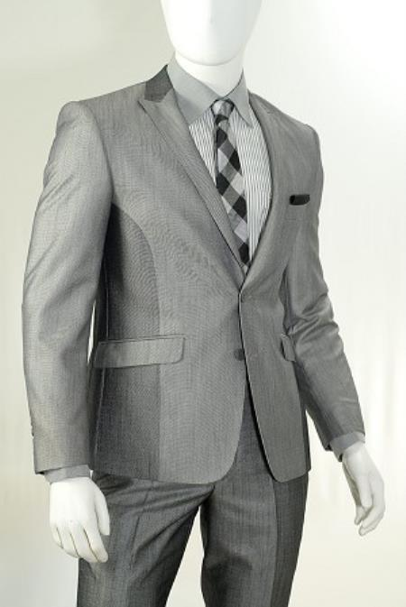 Silver Two Piece Slim narrow Style Cut Sharkskin Suit