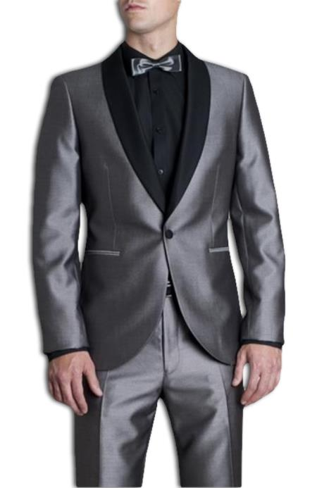 Silver Tonic Dress Suit with Contrast Liquid Jet Black Marcella Shawl Collar Clearance Sale Online