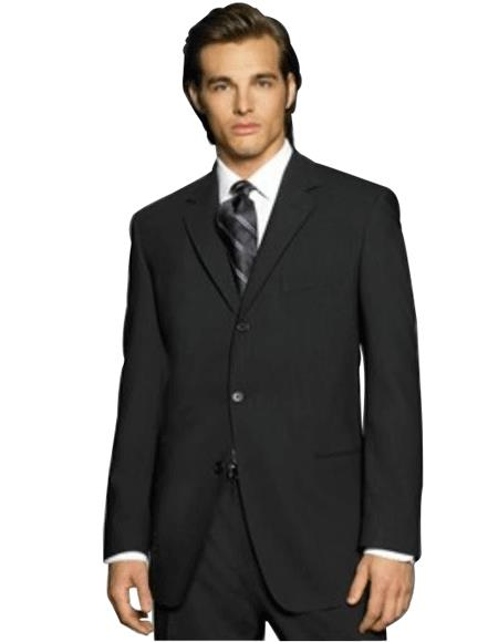Exclusive Simple & Classy Smooth Solid Liquid Jet Black 3 Button Style premier quality italian fabric Design