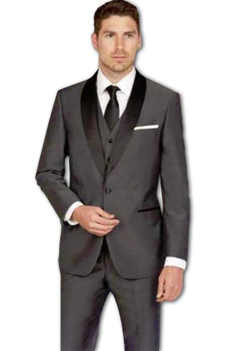 Grey Tuxedo - Gray Tuxedo Men's Shawl Lapel Slim Fit Dark Grey Single Breasted Sharkskin Vested Tuxedo Suit