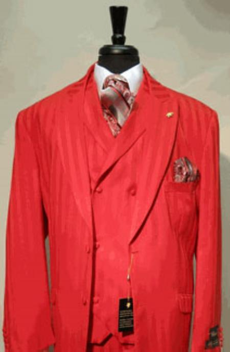Product# AC-748 1940s Mens Suits StyleSingle Breasted Two Covered Button Suit Jacket with Peaked Lapel with A Double Breasted Three Button Label Vest In sophisticated 1/2 Satin Stripe ~ Pinstripe Fabric Red