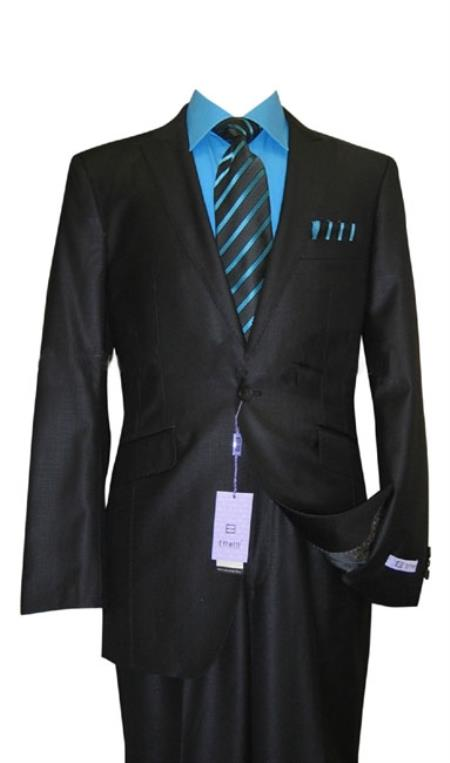 Mens Single Button Black Suit