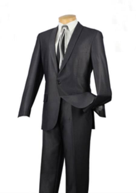 Mens Single Button Charcoal Suit