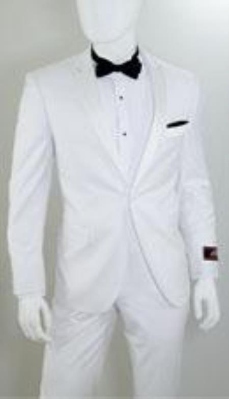 Product# AP33K 1 Button Style Peak Lapel White 1920s tuxedo style Suit ( Jacket and Pants)  For Men for Online