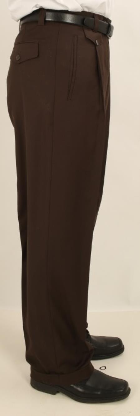 Wide Leg Single Pleated Slacks Pants 1920s 40s Fashion Clothing Look ! Solid Dark Brown