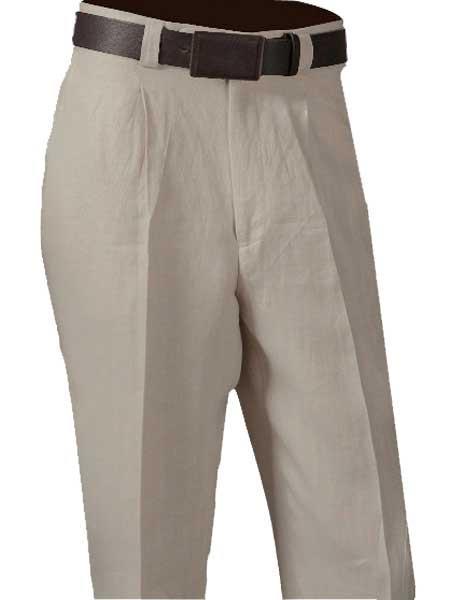 Product# SM878 Oatmeal Single Pleated Slacks Pant 100% Linen