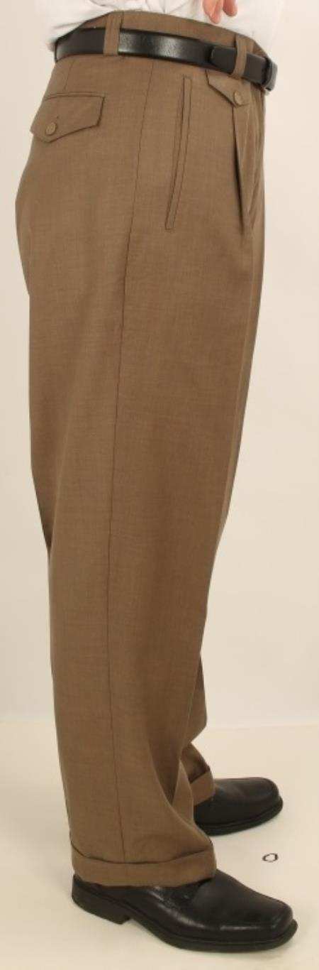 Product# A7V4 Wide Leg Single Pleated Slacks Pants Taupe 1920s 40s Fashion Clothing Look !
