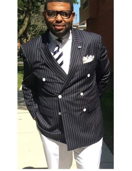 Men's Double Breasted Button Closure Peak Lapel Stripe Pattern Black Suit