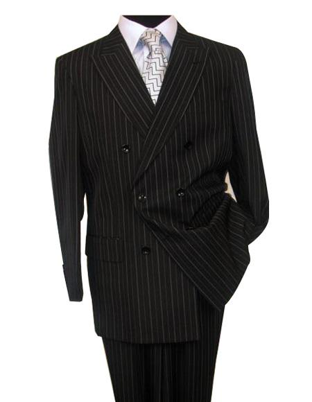 Men's Stripe Pattern Black Button Closure Double Breasted Wool Suit
