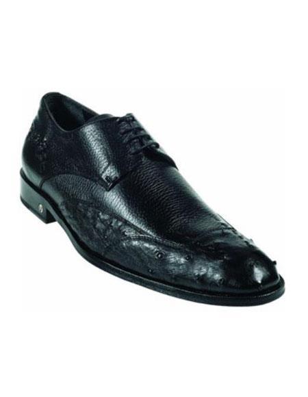 Ostrich Full Quill Skin Liquid Jet Black Dress Shoe