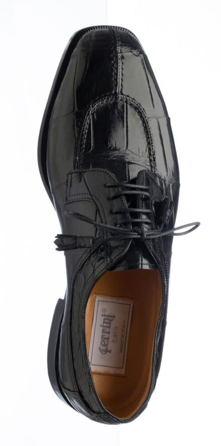 Mens Green Dress Shoes Ferrini Handcrafted Belly Alligator Dress Black/Navy/Chocolate/Olive Shoes