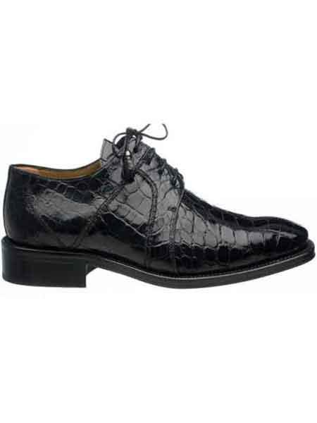 Ferrini Liquid Jet Black Full Alligator skin Dress Shoes