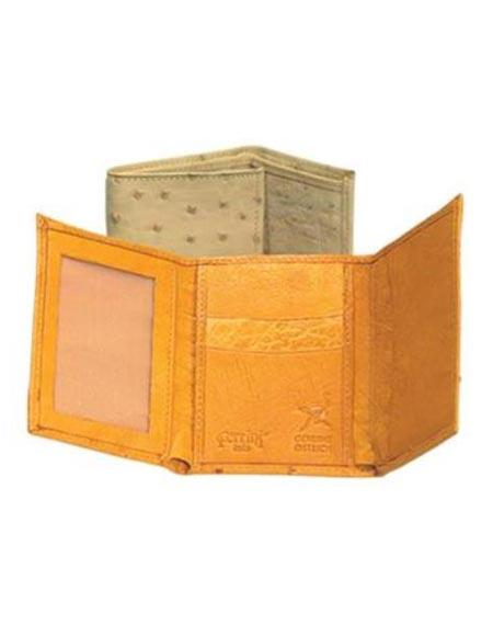 Product# AA376 Ferrini Genuine Full Quill Ostrich Trifold Wallet Oryx,Cognac