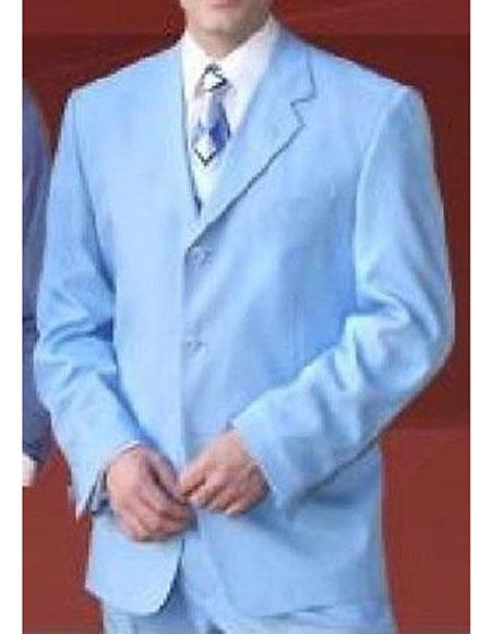 JSM-5312 Milano Moda Men's Sky Blue 3 Button Notch Lapel