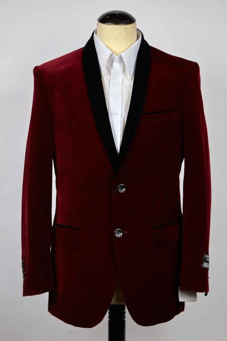 Slim narrow Style Fit 2 Button Style Single Breasted Burgundy And Liquid Jet Black Shawl Lapel Blazer Online Sale