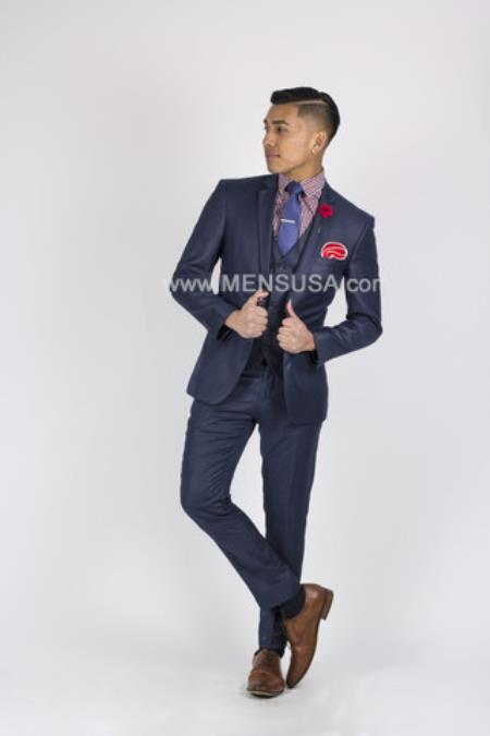 SM133 Slim narrow Style Fit 2 Button Style Suit With Center Vent Notch Lapel Dark Blue