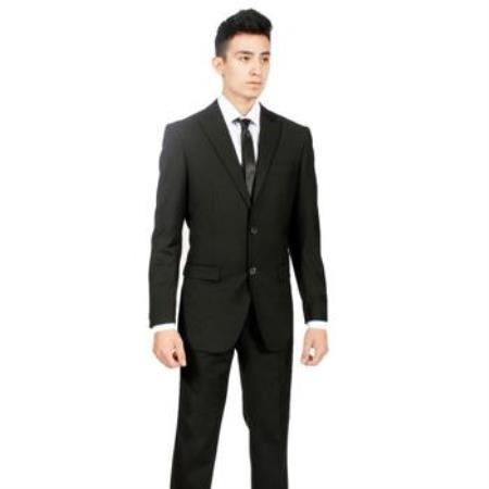 Product# AA394 Custom Slim narrow Style Fit Liquid Jet Black 2-piece Tow buttons Peak Lapel Suit No Pleated Slacks Pants