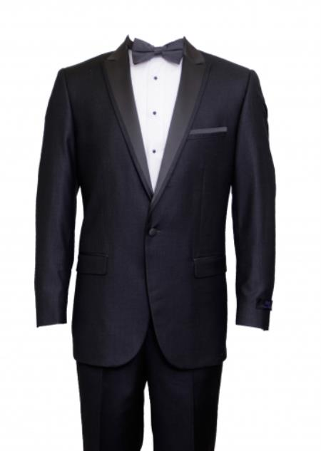 Product# KA5757 Tapered Leg Lower rise Pants & Get skinny Slim narrow Style Fit 1 Button Style Peak Trimmed Lapel + Flat Front Pants Suit or 1920s tuxedo style - Dark Grey Masculine color Clearance Sale Online