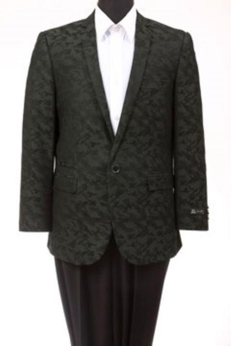 Product# MK700 Tazio Abstract Design Slim narrow Style Fit Fashion Jacket Green