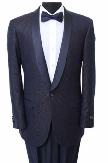 Product# BC-77 Slim narrow Style Fit Sport Coat - Fancy Pattern Satin Trim Navy Clearance Sale Online