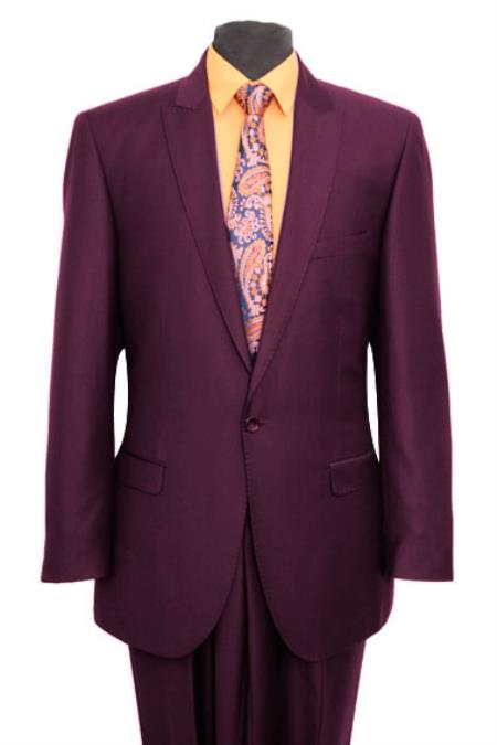 SKE#M211S Tapered Leg Lower rise Pants & Get skinny Slim narrow Style Fit Peak Lapel Pick Stitched Suit 1 One Button Suit Flat Front Pants – Very Dark Purple color shade Clearance Sale Online