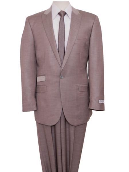 Two Piece Slim narrow Style Fit Suit Tan khaki Color ~ Beige Clearance Sale Online