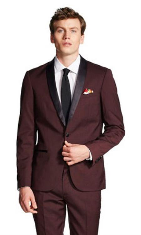 Slim narrow Style Fit With Front Button Shawl Collar formal tux Jacket Burgundy Clearance Sale Online Burgundy Tuxedo
