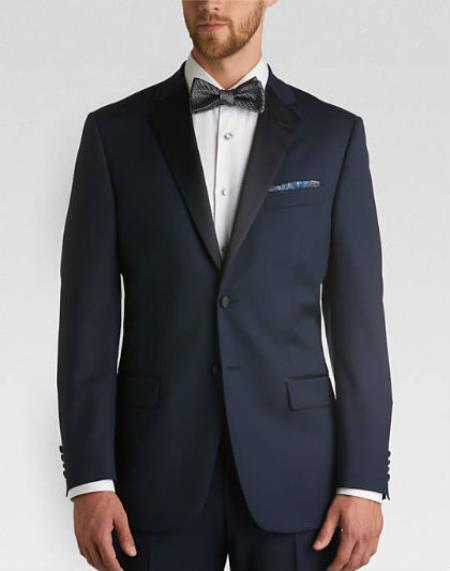 Product# MK819 Satin Lapel classic Slim narrow Style Fit Tuxedo With flat-front slacks Navy
