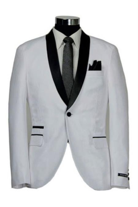 1 Button Style Slim narrow Style Fitted Shawl Tuxedo White