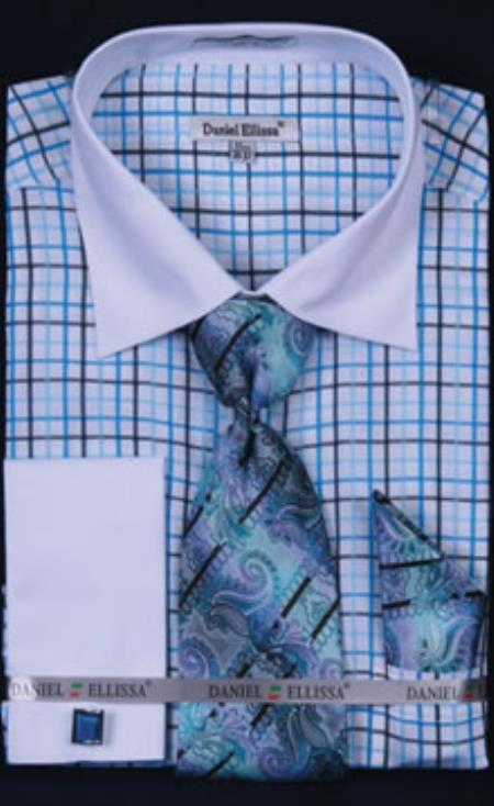 Daniel Ellissa small checker pattern Turquoise Dress Shirt with Tie, Hanky and Cuff Links