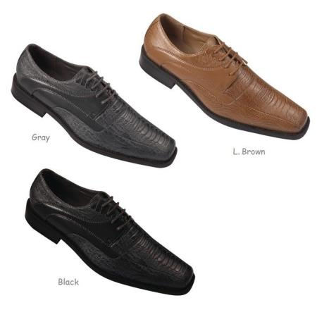 Product#PN80 trendy casual Dress Shoes for Online Snake Pattern Embossed Faux Leather Black,Gray And Light brown color shade