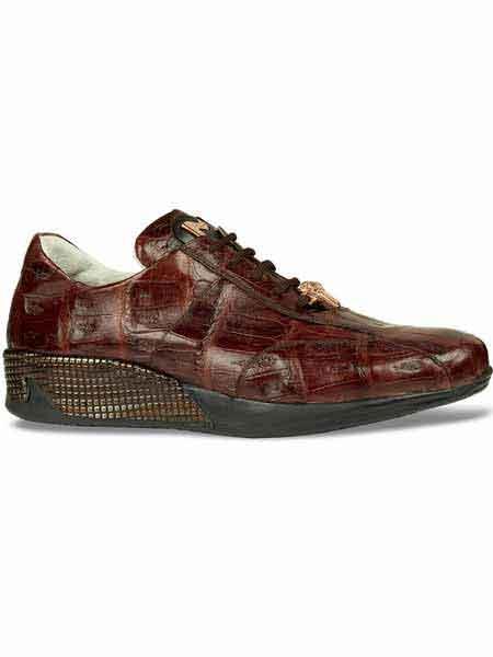 Mauri attire brand Italy Crocodile Skin brown color shade Sneakers