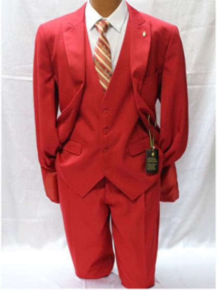 Men's Falcone Vett Classic Fit Solid Vested Red Suit For Men Perfect For Prom