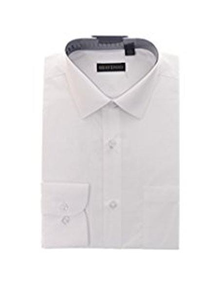 Product# JSM-4783 Braveman Mens Solid White Cotton Blend Slim Fit Shirt