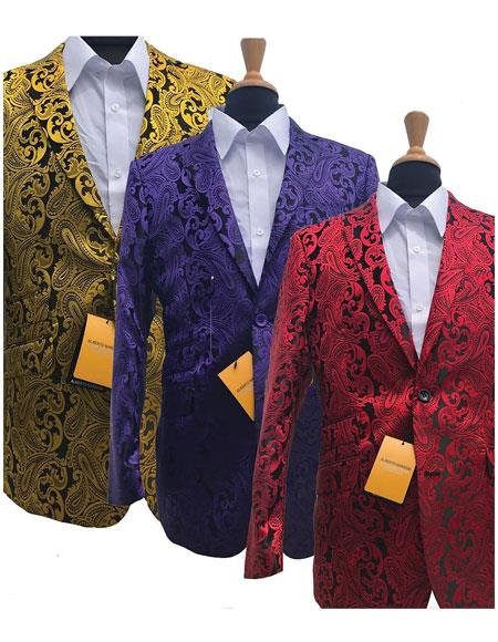 Product# JSM-5291 Alberto Nardoni Best Mens Italian Suits Brands Fashionable Paisley Tuxedo Sparkling Sequin Pattern Blazer For Men Also Available In Big and Tall Sizes