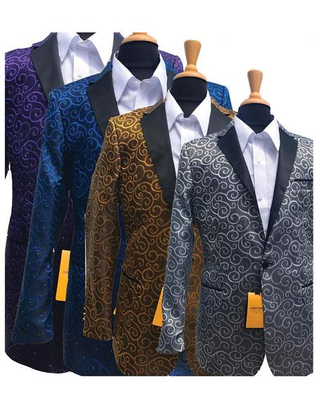 Product# JSM-5292 Alberto Nardoni Best Mens Italian Suits Brands Fashionable Paisley Tuxedo Sparkling Sequin Pattern Blazer For Men Also Available In Big and Tall Sizes