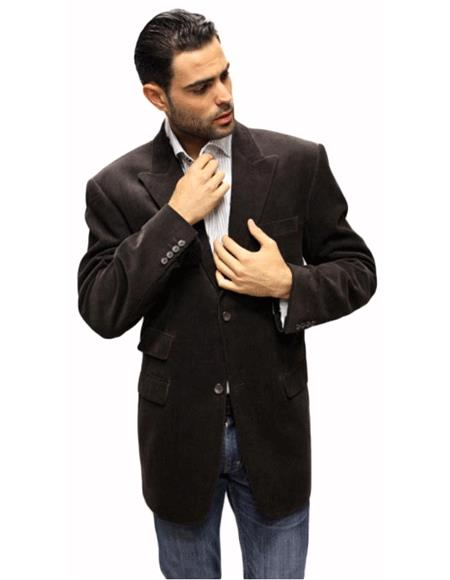 brown color shade Velvet Fabric Solid Sport Coat 2 Button Style with Back Vent Italian Made