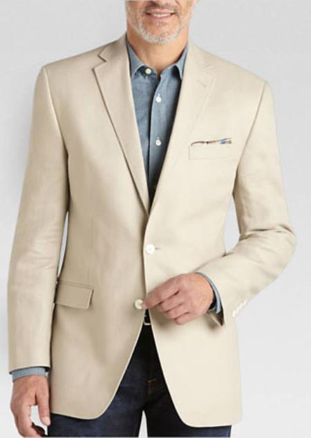 Product# RM1345 Men's 2 Piece Linen Causal Outfits Classic Fit Summer Fabric Sport Coat Tan ~ Natural  Blazer / Beach Wedding Attire For Groom