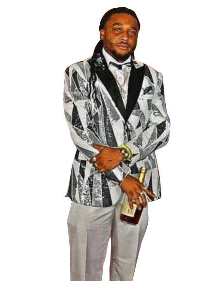 men's Gray Single Breasted Peak Black Lapel fancy designed suit