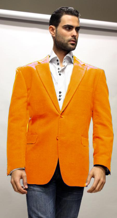 Velvet Blazer - Mens Velvet Jacket Orange Superior Fabric 150's Velvet Fabric Sport Coat