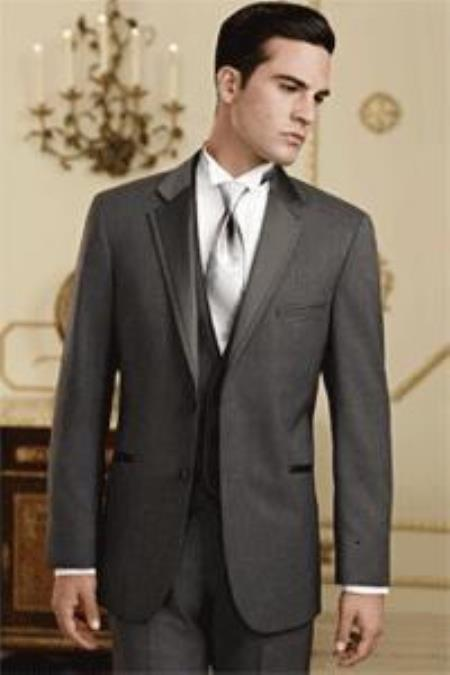 Product# QY80L Dark Grey Masculine color Grey~Gray Tuxedo Ve