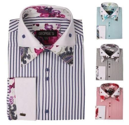Product# PN-H51 Stylish Floral Fashion Stripe Dress Shirt 4 Colors Style