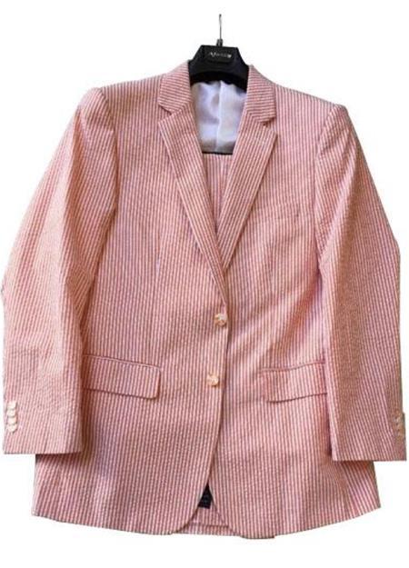 men's Striped Cotton Blend Cheap priced men's Seersucker Suit Sale Suit ( Jacket and Pants)  For Men Multi Color Orange Flat Front Pants