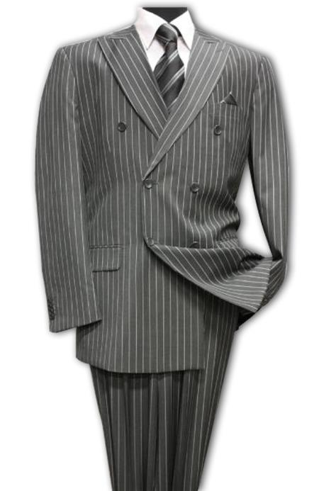 Dark Grey Masculine color Classic Double Breasted Suit with Pinstripe