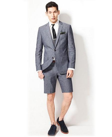 Men's Summer Business Gray Suits With Shorts Pants Set (Sport Coat Looking)
