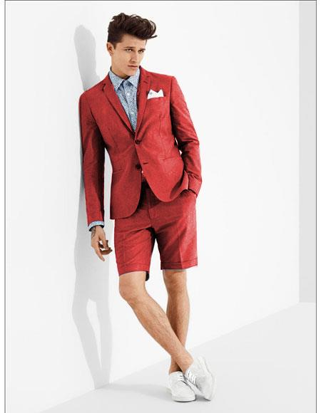 men's summer business suits with shorts pants set (sport coat Looking) Red