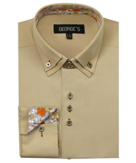 Men's 60% Cotton 40% POLY Tan Shirt Solid Color Double Collar