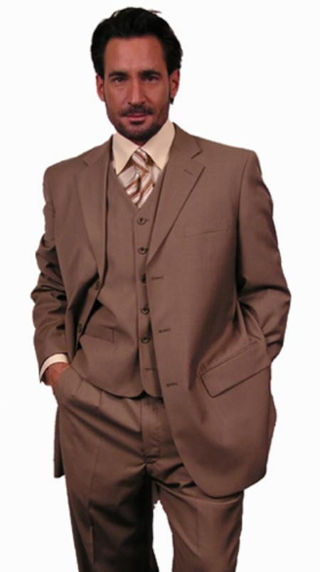 Superior Fabric 110'S EXTRA FINE premier quality italian fabric Wool Fabric COLOR 3PC VETED SUIT. COLOR Gold / Tan khaki Color ~ Beige